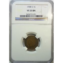 1908S  Indian penny  NGC 25BN  est $125-$135