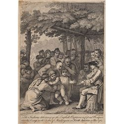 BENJAMIN WEST ENGRAVING OF INDIANS GIVING UP ENGLISH CAPTIVES