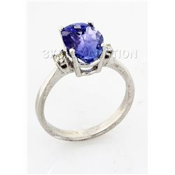 2.79 ctw Tanzanite & Diamond Ring 10kt, G-SI1, AAA
