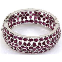 Ruby Bangle Bracelet 92.5 Sterling Silver 54 Grams Diam