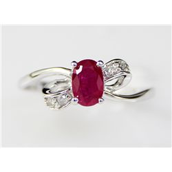 1.06 ctw Ruby .40 Diamond 10K Ring