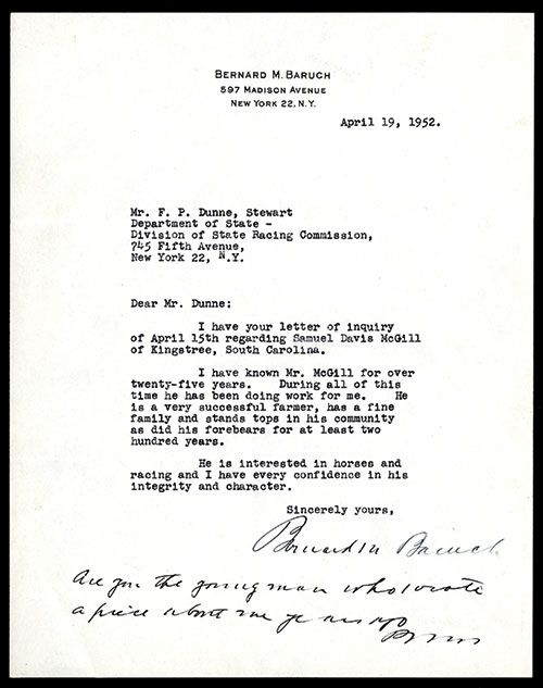 Bernard Baruch Signature On His Personal Letterhead.