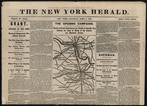 New York Herald April 1st 1865 Newspaper With Late