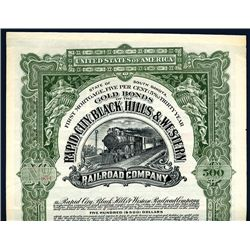 Rapid City, Black Hills & Western Railroad Co., Specimen Bond.