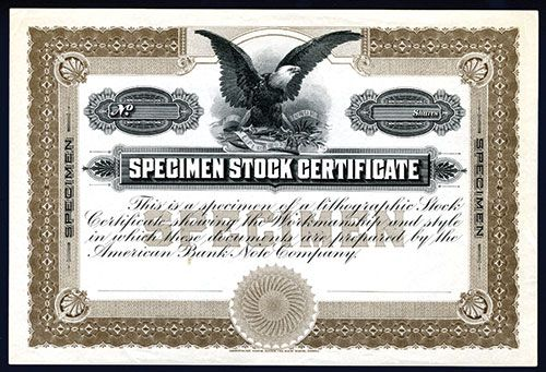 Specimen share certificate specimen certificate for class a common abnc specimen stock certificate sample yadclub Images