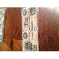 1840 Republic Of Texas $20 Bill,Extremely Rare, Cut-Cancelled , F