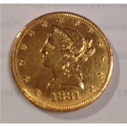1881 $10 GOLD LIBERTY EAGLE, XF