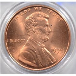 1995 DOUBLE DIE LINCOLN ONE CENT MS 67 RED