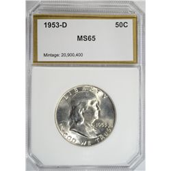 1953-D FRANKLIN HALF DOLLAR PCI MS65 GEM