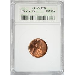 1950-D LINCOLN ONE CENT ANACS MS65 RED