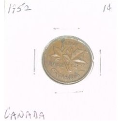 1952 CANADIAN 1 CENT PENNY *PLEASE LOOK AT PICTIRE TO DETERMINE GRADE*!!