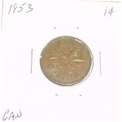 1953 CANADIAN 1 CENT PENNY *PLEASE LOOK AT PICTIRE TO DETERMINE GRADE*!!