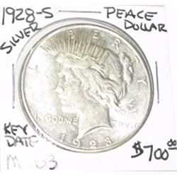 1928-S PEACE SILVER DOLLAR RED BOOK VALUE IS $700.00 *EXTREMELY RARE KEY DATE MS-63 HIGH GRADE*!!