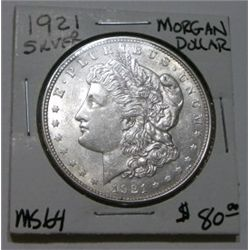 1921 MORGAN SILVER DOLLAR RED BOOK VALUE IS $80.00 *RARE MS-64 HIGH GRADE*!!