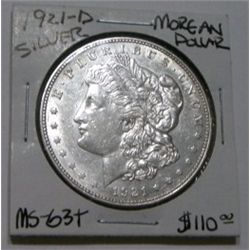 1921-D MORGAN SILVER DOLLAR RED BOOK VALUE IS $110.00 *RARE MS-63+ HIGH GRADE*!!