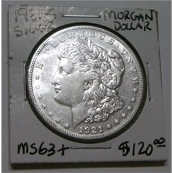 1921-S MORGAN SILVER DOLLAR RED BOOK VALUE IS $120.00 *RARE MS-63+ HIGH GRADE*!!