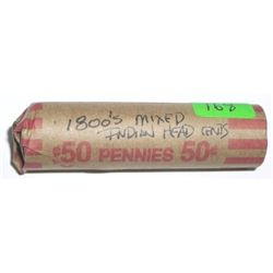 ROLL OF 1800'S INDIAN HEAD PENNIES *50 TOTAL UNSEARCHED MIXED* ROLL CAME OUT OF SAFE DEPOSIT BOX!!