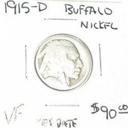 1915-D BUFFALO NICKEL RED BOOK VALUE IS $90.00 *EXTREMELY RARE KEY DATE VERY FINE GRADE*!!