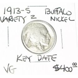 1913-S VARIETY 2 BUFFALO NICKEL RED BOOK VALUE IS $400.00 EXTREMELY RARE KEY DATE VERY GOOD GRADE*!!