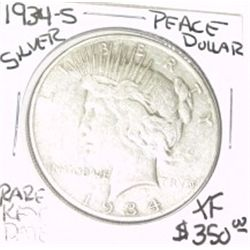 1934-S PEACE SILVER DOLAR RED BOOK VALUE IS $350.00 *EXTREMELY RARE KEY DATE EXTRA FINE HIGH GRADE*!
