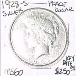 1928-S PEACE SILVER DOLLAR RED BOOK VALUE IS $250.00 *EXTREMELY RARE KEY DATE MS-60 HIGH GRADE*!!