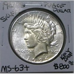 1924-S PEACE SILVER DOLLAR RED BOOK VALUE IS $800.00 *EXTREMELY RARE KEY DATE MS-63+ HIGH GRADE*!!