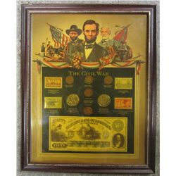 THE CIVIL WAR MONEY & STAMP FRAMED DISPLAY