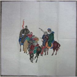 COLORED CHINESE ART PAPER RUBBING ON RICE PAPER FROM STONE CARVING