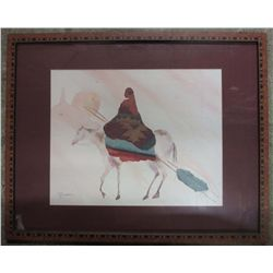 SOUTH WEST NATIVE AMERICAN INDIAN PRINT - FRAMED - SIGNED JC MADDEN