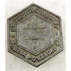 JEWISH WARSAW GHETTO POLICE BADGE