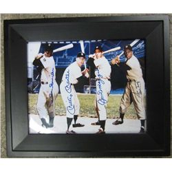 MANTLE, DIMAGGIO, MAYS & SNIDER AUTOGRAPHED PICTURE W/ YMC SPORTS COA