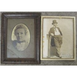 LOT OF 2 VINTAGE FRAMED PHOTOS OF MEN