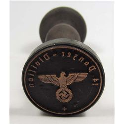 GERMAN NAZI WAX SEAL / RUBBER STAMPER W/ WOOD HANDLE