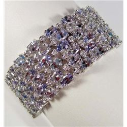 PLATINUM OVER STERLING SILVER TANZANITE AND SAPPHIRE BRACELET