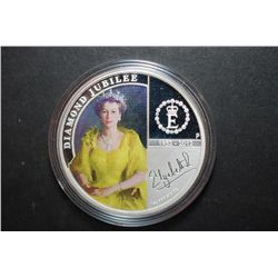 2012 Australia $1 Diamond Jubilee-H.M. Queen Elizabeth II Colorized Silver Foreign Coin In Display B