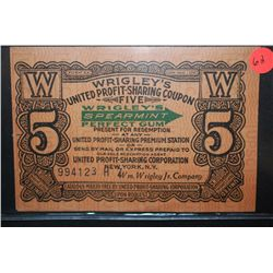 "Vintage Wrigley's United Profit-Sharing Coupon ""5 Coupons""; Cash Value 1 Cent; EST. $5-10"