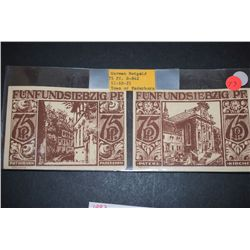 1921 German Notgeld 75 Pfennig Foreign Bank Note; Town Of Paderborn; Lot of 2 Notes; EST. $5-10