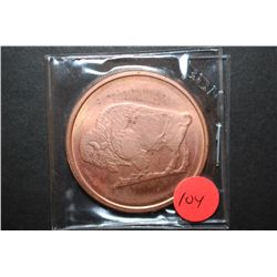 "2011 Fine Copper ""Buffalo Nickel Type""; .999 Fine Copper 1 Oz.; EST. $5-10"