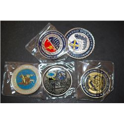 Military Challenge Coin; Various Dates, Bases, People, Etc.; Lot of 5; EST. $30-50