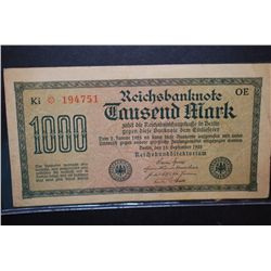 1922 German 1000 Fausend Mark Foreign Bank Note; EST. $3-6