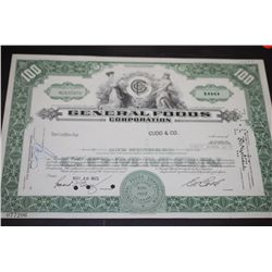 General Foods Corp. Stock Certificate Dated 1972; EST. $5-10