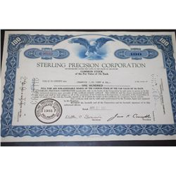 Sterling Precision Corp. Stock Certificate Dated 1961; EST. $5-10