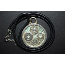 "Black Leather Necklace With Silver-Toned ""Gear"" Charm; EST. $10-15"