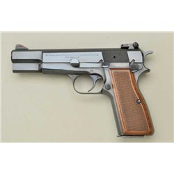 "Browning Hi Power semi-auto pistol, 9mm cal.,  4-3/4"" barrel, blue finish, checkered wood  grips, #2"
