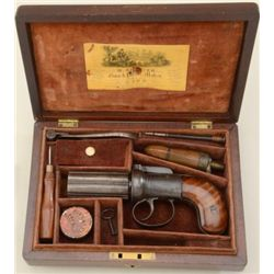"Cased M. Spencer pepperbox percussion pistol,  .36 cal., 6-shot 3"" barrels, blue and case  hardened"