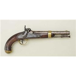 "U.S. Model 1842 percussion pistol by H.  Aston, .54 cal., 8-1/2"" round barrel, blue  finish, brass m"