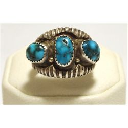 Old Pawn Navajo Stormy Mountain Turquoise Sterling Silver Men's Ring - Philander Begay