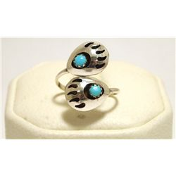 Navajo Turquoise Sterling Silver Bear Paw Adjustable Women's Ring - Joey McCray
