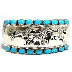 Old Pawn Navajo Turquoise Sterling Silver Running Horses Cuff Bracelet - Emer Thompson