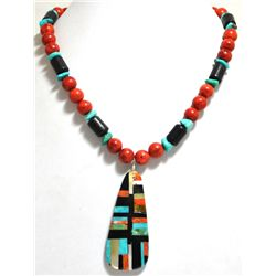 Santo Domingo Multi-Stone & Apple Coral Bead Necklace - Delbert & Torevia Crespin